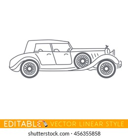 Luxury old car. Editable vector icon in linear style.