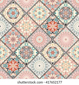 Luxury oriental tile seamless pattern. Colorful floral patchwork background. Mandala boho chic style. Rich flower ornament. Square design elements. Portuguese moroccan motif. Unusual flourish print.