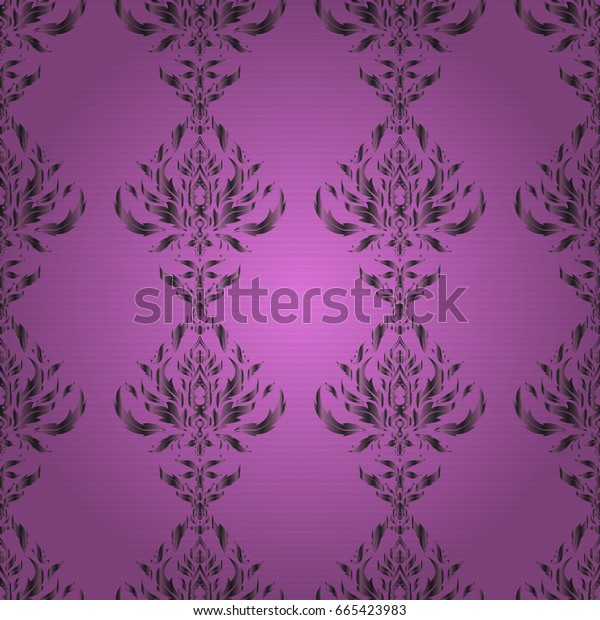 Luxury ornament for wallpaper, invitation, wrapping or textile. Vector illustration. Royal gray and violet seamless pattern.