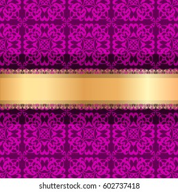Luxury ornamental Background with golden ribbon. Template for design