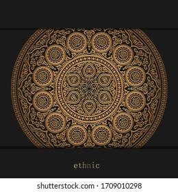 Luxury ornamental golden mandala design background, henna on black. Vector circle ornament template