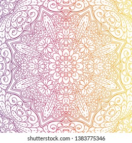 luxury ornamental mandala design background rainbow color, multicolored. Vector illustration