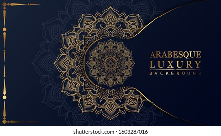 luxury ornamental mandala design background in gold color.