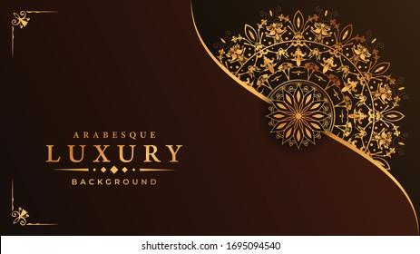 Luxury ornamental mandala design background  with golden  arabesque pattern arabic islamic east style