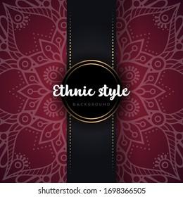 Luxury ornamental mandala design background. white color artwork in maroon color background. ornament elegant invitation wedding card , invite , backdrop cover banner illustration vector design.