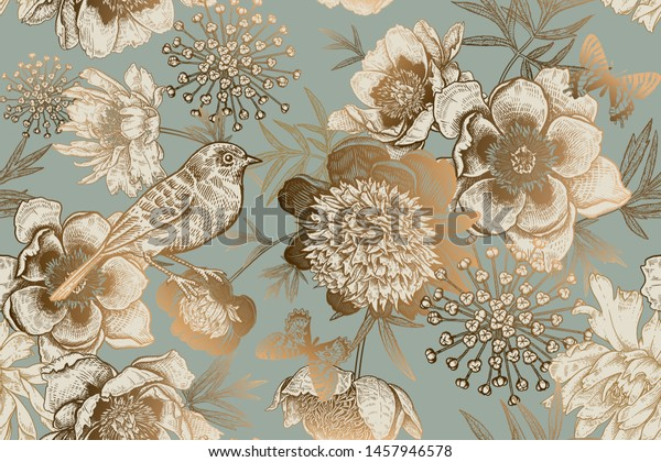 Luxury ornate pattern for creating textiles, wallpaper, paper. Print gold foil on a blue background. Seamless background with garden flowers peonies, bird and butterflies. Vintage. Vector Illustration