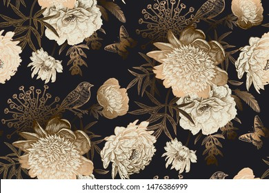 Luxury ornate pattern. Shimmering glittering gold color on black background. Seamless background with garden flowers peonies, bird, butterflies for creating textiles, wallpaper, paper. Vintage. Vector