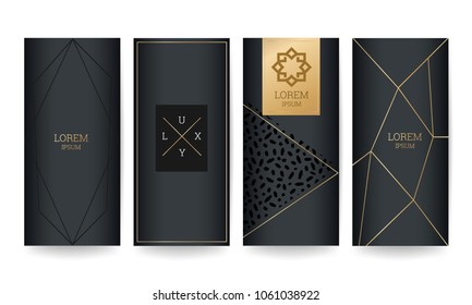 Luxury  packaging design with gold marble texture background and geometric shape vector illustration.