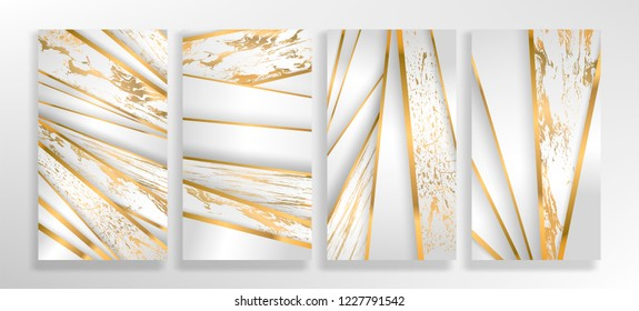 Luxury paper cut background, Abstract  marble decoration, golden pattern, halftone gradients, 3d Vector illustration. White and gold Cover template, geometric shapes, modern minimal banner.