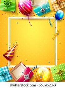 Luxury party balloons, confetti and gift boxes on orange background. Party or birthday template with place for your message