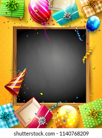 Luxury party balloons and confetti on orange background. Party or birthday template