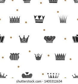 Luxury  pattern with black crowns and gold polka dots. Can be used for wallpaper, textile, invitation card, wrapping, web page background.