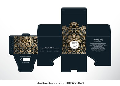 Luxury Perfume Packaging Box Design,  Box die line, 3d Box Mockup labels, icon, frames and Design elements, 3d Illustration, Vector design Template.