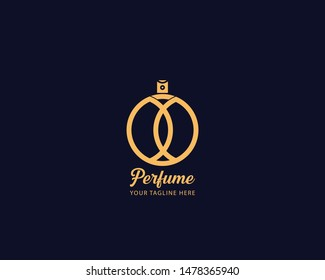 Luxury Perfume perfumery logo design vector illustration can be used for cosmetics spray beauty fragrance business eps 10 fully editable