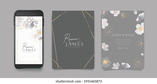 Luxury Pink Social Media, mobile  Wedding invite frame templates. Vector background. minimal Invitation mobile Floral with golden collage layout design.