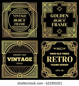 Luxury poster vector design with gold frames in art deco old classic style