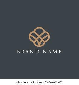 Luxury premium Abstract Flower logo design inspiration vector