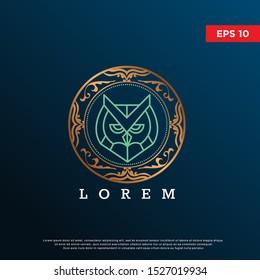 luxury premium animal owl logo. modern iccon, template design