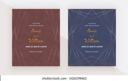 Luxury premium design cards with golden polygonal lines frames on the marble texture. Trendy templates for banner, flyer, poster, greeting.