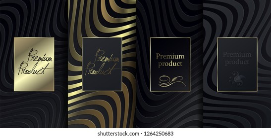 Luxury Premium design. Vector set packaging templates with different texture for luxury products. Collection of design elements with golden foil. 	 Black paper cut background. VIP design