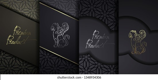 Luxury Premium design. Vector set packaging templates with different texture for luxury products. Collection of design elements with golden foil.  Black paper cut background. VIP luxury design