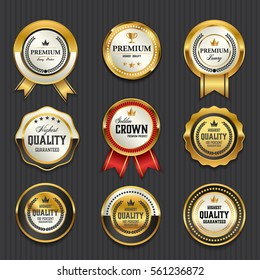 Luxury premium golden badge labels collection, vector illustration