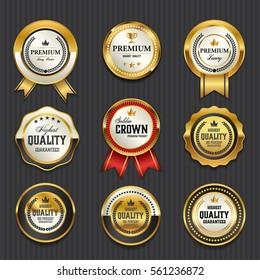 Luxury premium golden badge labels collection, vector illustration
