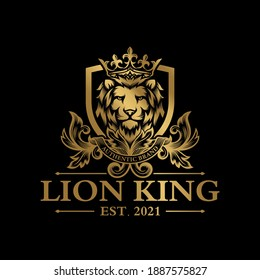 luxury premium lion logo vector with golden ornament