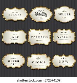 Luxury premium pearl white and golden labels collection,vector illustration