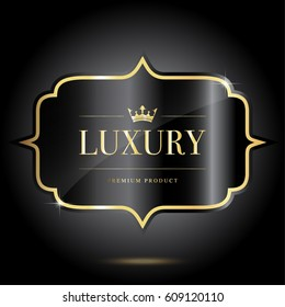 Luxury and premium quality golden black metal labels on dark grey background.