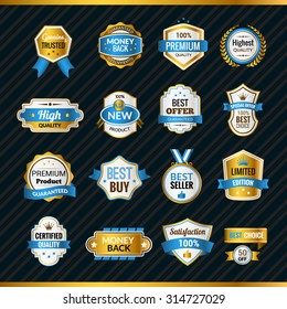 Luxury premium shopping labels gold and blue set isolated vector illustration