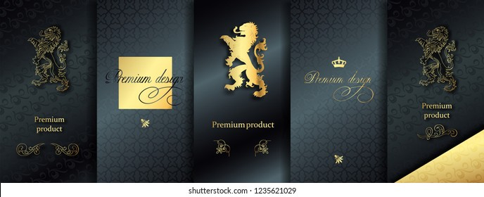 Luxury Premium VIP design. Vector set packaging templates with different texture for luxury products. Collection of design elements, labels, frames, for packaging, with golden foil on black background