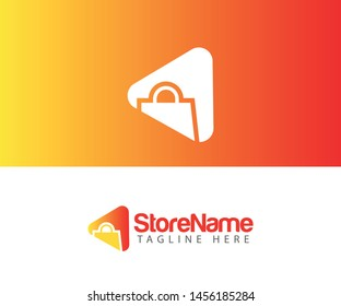 Luxury and professional Shopping store market logo play icon
