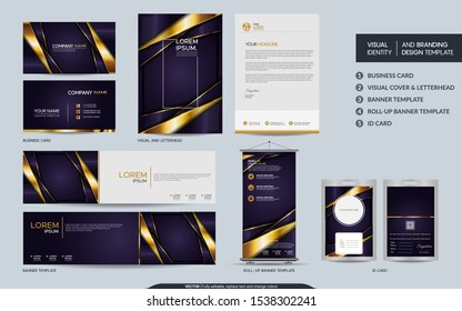 Luxury purple gold stationery mock up set and visual brand identity with abstract overlap layers background . Vector illustration mock up for branding, cover, card, product, event, banner, website.
