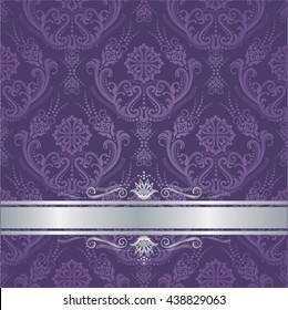 Luxury purple victorian style floral damask wallpaper cover with silver border. This image is a vector illustration.