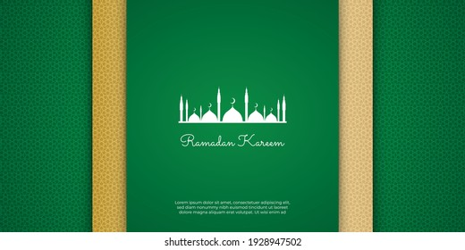 Luxury ramadan background with green arabesque pattern arabic islamic east style. Decorative design with mosque and golden line texture for poster, cover, brochure, flier, banner, greeting card