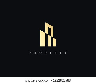 Luxury real estate building gold vector logo template.