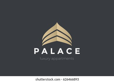 Luxury Real Estate Palace Logo abstract design vector template. Arabic style architecture building Logotype concept icon.