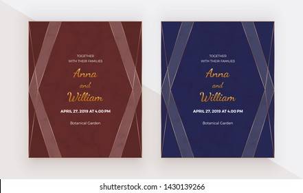 Luxury red and blue design cards with golden polygonal lines frames. Trendy templates for banner, flyer, poster, greeting.