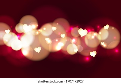 Luxury Red bokeh lovely background. Gold heart glowing effect. Abstract background bokeh blurred. Shiny bokeh light effect. Valentine wallpaper. Vector illustration.