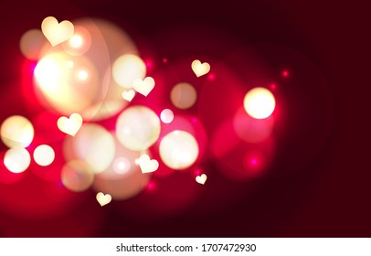 Luxury Red bokeh lovely background. Gold heart light glowing effect. Abstract background bokeh blurred. Shiny light effect. Valentine wallpaper. Vector illustration.