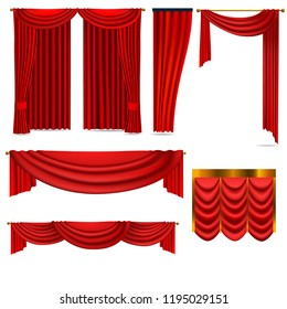 luxury red curtains set of vector images isolated on white background