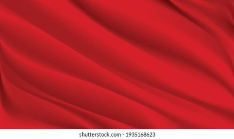 The luxury of red fabric texture background.Closeup of rippled silk fabric.Abstract  white cloth or liquid wave  vector background.Cloth soft wave. Creases of satin, silk, and cotton.