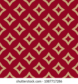 Luxury red and gold vector geometric pattern. Abstract seamless background with rhombuses, diamond shapes, stars, repeat tiles. Elegant texture in traditional Asian style. Decorative design element