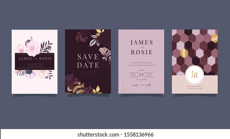 Luxury red and pink Wedding Invitation set,  invite thank you, rsvp modern card Design in Golden and white rose with leaf greenery branches  decorative Vector elegant rustic template