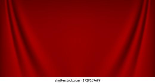 Luxury red wave silk background, satin texture