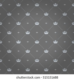 Luxury regal seamless pattern with light crown ornament signs in style of fashion on silver gray shaded background with flower and dot fill out. Design for wallpapers and textile print.