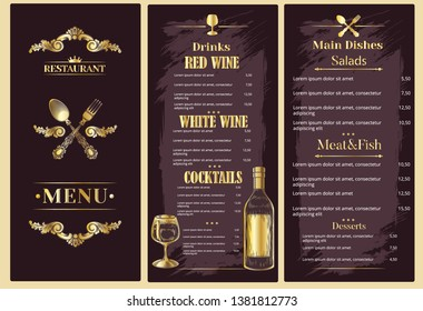 Luxury restaurant menu with food and drinks. Golden vector.