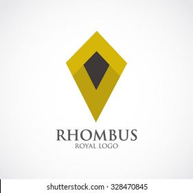 Luxury rhombus of royal ribbon connection abstract vector and logo design or template elegant office business icon of company or corporate identity symbol concept