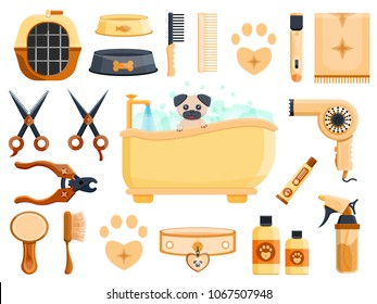 Luxury rich cute wood dark metal vintage retro pet vet grooming dog cat animal beauty saloon shop barbershop hairdressing logo set concept Modern flat vector illustration icons. Isolated on white
